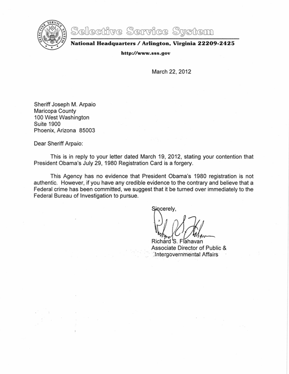 Selective Service System Letter