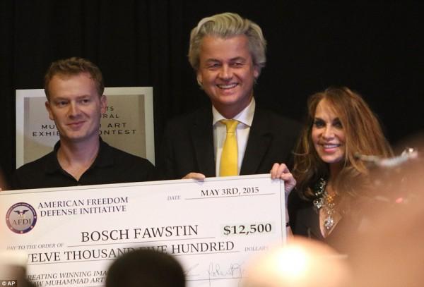 Bosch Fawstin, Geert Wilders, Pamela Geller (photo: AP via Daily Mail)