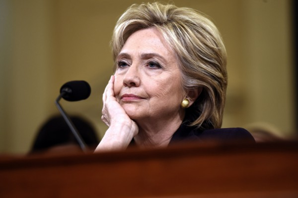 Former Secretary of State and Democratic Presidential hopeful Hillary Clinton waits to testify before the House Select Committee on Benghazi on Capitol Hill in Washington, DC, October 22, 2015. AFP PHOTO / SAUL LOEB (Photo credit should read SAUL LOEB/AFP/Getty Images)