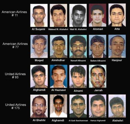 The U.S. Department of Justice released September 27, 2001 the following names with pictures of the hijack suspects: (Top, L-R) Satam Al Suqami, Waleed M. Alshehri, Wail Alshehri, Abdulaziz Alomari and Mohamed Atta and were aboard American Airlines Flight 11, which destroyed the World Trade Center. Majed Moqed, Khalid Al-Midhar, Nawaf Alhamzi, Salem Alhamzi and Hani Hanjour were on American Airlines Flight 77, which gouged a hole in the Pentagon building. Saeed Alghamdi, Ahmed Alhaznawi, Ahmed Alnami and Ziad Samir Jarrah were on United Airlines Flight 93, which crashed in the Pennsylvania countryside. Marwan Al Shehi, Ahmed Alghamdi, Fayez Rashid Ahmed Hassan Al Qadi Banihammad, Hamza Alghamdi, and Mohald Alshehri were flying on United Airlines Flight 175, which destroyed the World Trade Center. Photo by Reuters (Handout)