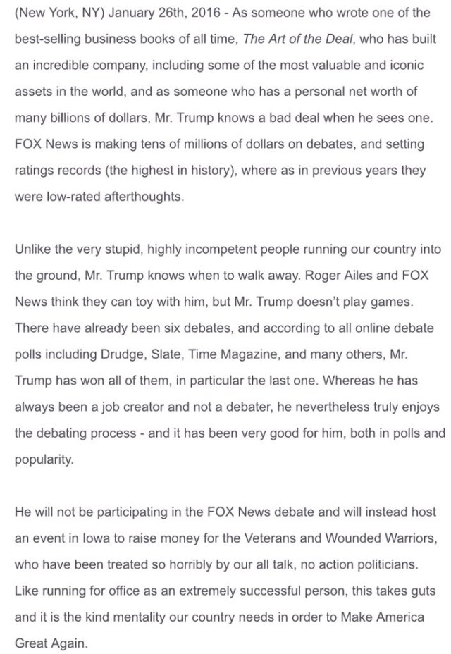 Trump Statement On Skipping FoxNews Debate